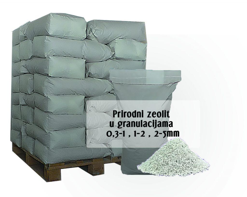 Slika paletnog pakovanja zeolita u granulacijama